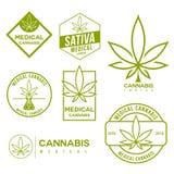 Sistema de emblemas médicos del cáñamo de la marijuana Fotografía de archivo