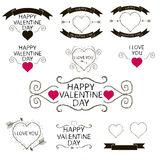 Sistema de emblemas o de la decoración para el día de tarjetas del día de San Valentín Fotos de archivo