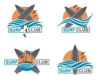 Sistema de emblemas que practican surf Foto de archivo libre de regalías