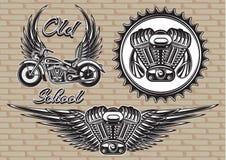 Sistema de emblemas retros en el tema de la motocicleta Foto de archivo libre de regalías