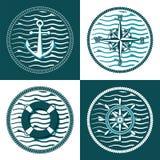 Sistema de emblemas temáticos del mairine stock de ilustración