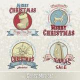 Sistema de emblemas y de diseños de la Navidad Foto de archivo libre de regalías