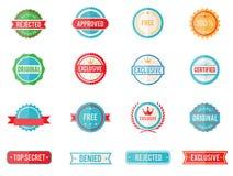 Sistema de emblemas y de sellos coloreados stock de ilustración