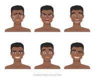 Sistema de emociones al hombre afroamericano negro joven stock de ilustración
