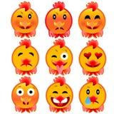 Sistema de emociones alegres del gallo Iconos al fuego, el gallo Fotografía de archivo
