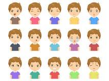 Sistema de emociones caucásicas lindas de la cara del muchacho de la historieta ilustración del vector