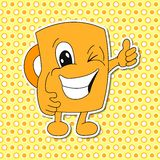 Sistema de emociones de la taza de la historieta (taza) Foto de archivo libre de regalías