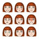 Sistema de emociones de las caras de las muchachas fotografía de archivo