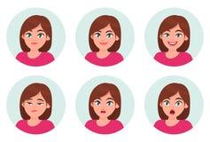 Sistema de emociones del facial de la muchacha/de la mujer Diversas emociones femeninas fijadas stock de ilustración