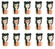 Sistema de emociones del ` s de la mujer stock de ilustración