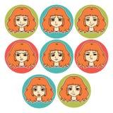 Sistema de emociones del ` s de la mujer Expresión facial stock de ilustración