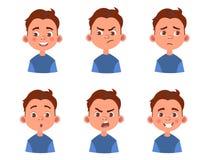 Sistema de emociones del ` s del niño Expresión facial Avatar del muchacho de la historieta Ejemplo del vector del carácter del n stock de ilustración