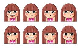 Sistema de emociones faciales femeninas Carácter lindo del emoji de la muchacha con diversas expresiones stock de ilustración