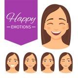 Sistema de emociones felices ilustración del vector