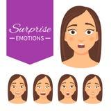 Sistema de emociones de la sorpresa ilustración del vector
