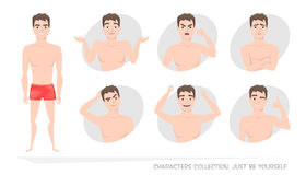 Sistema de emociones y de gestos al hombre joven Fotografía de archivo libre de regalías