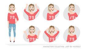 Sistema de emociones y de gestos a la mujer joven fotos de archivo