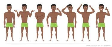 Sistema de emociones y de gestos al hombre afroamericano negro joven ilustración del vector