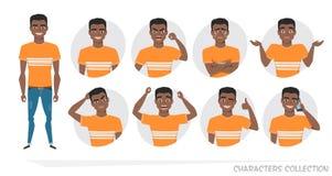 Sistema de emociones y de gestos al hombre afroamericano negro joven libre illustration