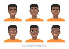 Sistema de emociones y de gestos al hombre afroamericano negro joven stock de ilustración