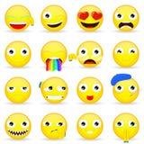 Sistema de Emoji Sistema del Emoticon Estilo de la historieta Imagen de archivo libre de regalías