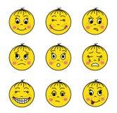 Sistema de emoticons amarillos ilustración del vector
