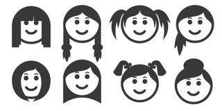 Sistema de emoticons del estilo de pelo de la mujer del esquema stock de ilustración