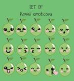 Sistema de emoticons del kawaii, cal linda del vector con las caras con diversas emociones ilustración del vector