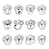 Sistema de emoticons del mono Diversas emociones de la demostración divertida del mono Ilustración del vector stock de ilustración