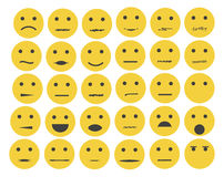 Sistema de emoticons, emoji aislados en el fondo blanco Imagen de archivo