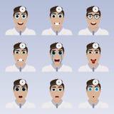 Sistema de emoticons lindos del doctor stock de ilustración