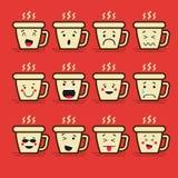 Sistema de 12 emoticons planos modernos: Café o té, taza y vapor, bebida caliente, sonrisa, tristeza y otras emociones Vector Fotos de archivo libres de regalías