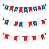 Sistema de empavesados rojos, blancos y azules Imágenes de archivo libres de regalías