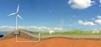 Sistema de energía de Eolic Fotos de archivo