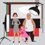 Sistema de equipo del estudio de la foto, fondo de papel de la foto, iconos planos suaves ligeros, flash, reflector, softbox, pho Imagen de archivo