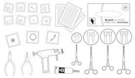 Sistema de equipo piercing profesional contorno Fotografía de archivo