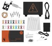 Sistema de equipo profesional del tatuaje Ningún esquema Fotos de archivo libres de regalías