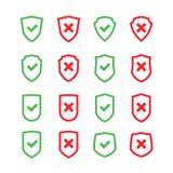 Sistema de escudos con símbolo de la marca de cotejo en estilo plano del diseño Imágenes de archivo libres de regalías