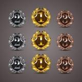 Sistema de escudos de oro de lujo Fotografía de archivo