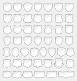 Sistema de 49 escudos del blanco de la calidad Imagen de archivo