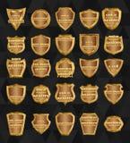 Sistema de escudos elemento-de oro del diseño del vintage Imagen de archivo