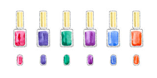 Sistema de esmalte de uñas de la acuarela Fotos de archivo libres de regalías