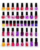 Sistema de esmaltes de uñas pintados acuarela ilustración del vector