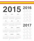 Sistema de español 2015, 2016, calendarios del vector de 2017 años Imágenes de archivo libres de regalías