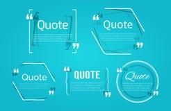 Sistema de espacios en blanco de la cita con la burbuja del texto con comas Fotografía de archivo libre de regalías