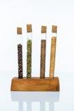 Sistema de especias en frascos de cristal Foto de archivo libre de regalías