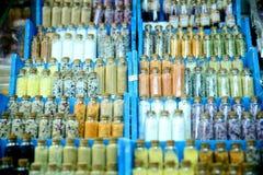 Sistema de especias en las botellas de cristal Fotos de archivo libres de regalías