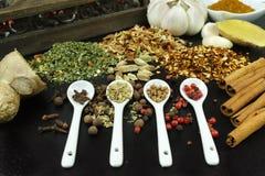 Sistema de especias y de condimentos con las cucharas blancas en negro Foto de archivo
