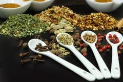 Sistema de especias y de condimentos con las cucharas blancas en negro Fotografía de archivo libre de regalías