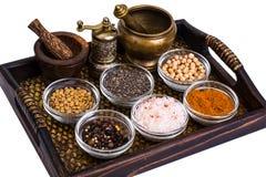 Sistema de especias y de semillas de legumbres en los moldes de cristal en la bandeja Foto de archivo libre de regalías